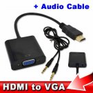 HDMI Male to VGA Female+Aux Audio Cable Adapter Video Digital / Analog Converter