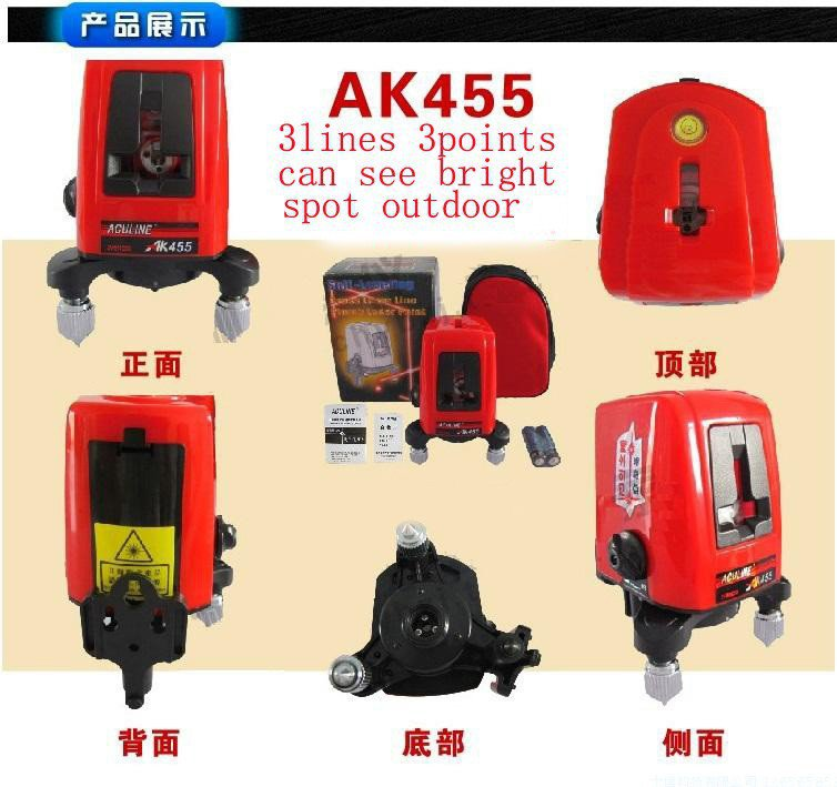 AK455 3 Lines 3 Points Cross Laser Level Indoor Outdoor 360Deg Self Leveling Dot