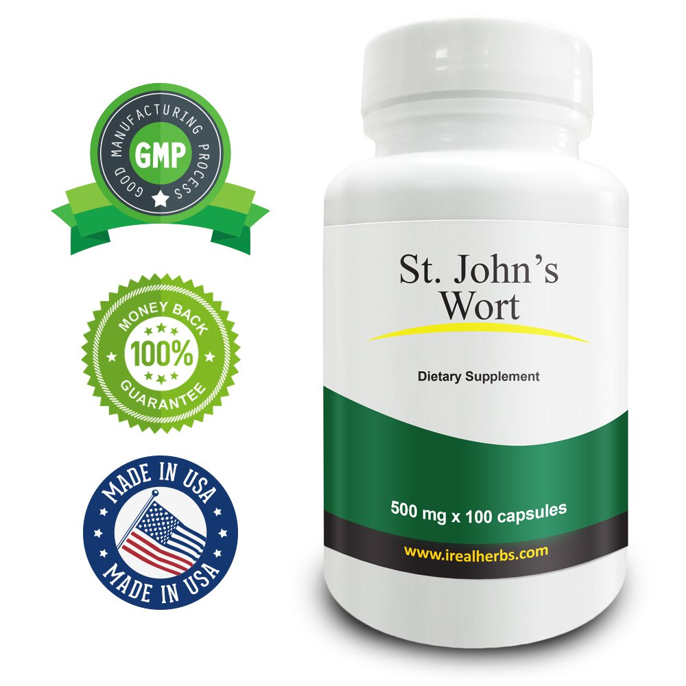 Real Herbs St Johns Wort 500mg - Standardized to 0.3% Hypericin