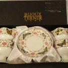 BIJOUX TERNER HOME Set/4 Pedestal Dessert Ice Cream Bowls&Saucers w/Butterflies