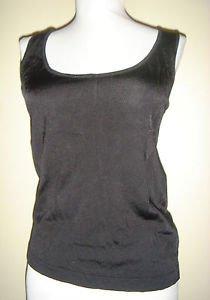 Ellen Tracy Tank Shell Cami Sleeveless Top Black Rayon Stretch Size Small NEW