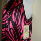 NEW Michael Kors Sleeveless Top Blouse Beaded Jeweled Neckline Pink Zebra Size 4
