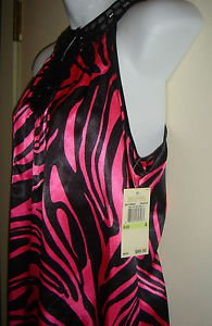 NEW Michael Kors Sleeveless Top Blouse Beaded Jeweled Neckline Pink Zebra Size 4