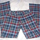 Abercrombie & Fitch Red White Blue Plaid Pants Flare Stretch Womens Size 2