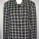 NWT Briggs New York Plaid Jacket Blazer Nubby Lined Black White Womens 10