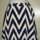 "NEW Francesca's Skirt Navy Blue White Chevron ""Buttons"" Brand Womens Small USA"