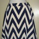 "NEW Francesca's Skirt Navy Blue White Chevron ""Buttons"" Brand Womens Small USA"