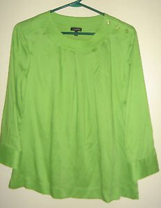 NEW Talbots Blouse Top Green 3/4 Sleeve Scoop Neck Pleated Womens 12