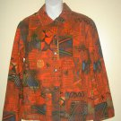 CHICOS Size 1 Shirt Jacket Top Red Black Cotton Southwest Aztec Design
