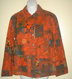 CHICOS Size 1 Shirt Jacket Top Red Black Cotton Southwest Aztec Design