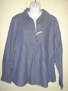 NEW Coldwater Creek Blue Denim Shirt Blouse Cotton Pull Over No Iron Size 18 XL