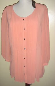NEW TALBOTS Petites Sheer Pleated Front Blouse 3/4 Sleeve Pink Peach Womens 16P