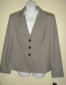 NEW KASPER Blazer Jacket Tweed 3 Button Royal Court Slate Gray Black Womens 12