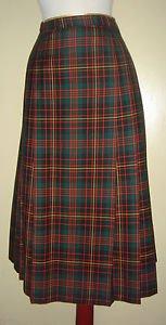 Pendleton Tartan Plaid Pleated Skirt 100% Virgin Wool Womens Black Red 10 USA
