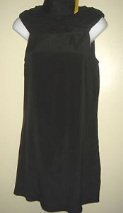 NEW ALICE + OLIVIA Black Silk Dress Sleeveless Draped Turtleneck Small $396 NWT