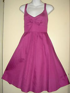 J CREW Halter Fit & Flare A-Line SunDress 100% Cotton Lined Pink Purple Size 2