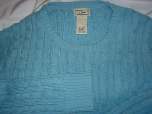 LL BEAN Cotton Classic Cable Knit Pullover Sweater Blue Womens XL