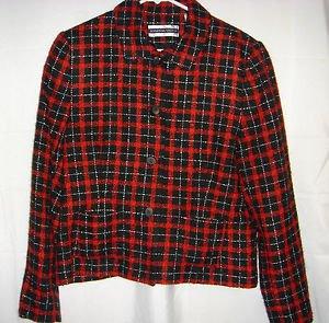 Amanda Smith Blazer Jacket Red Black Plaid Holiday Acrylic Mohair Womens 12