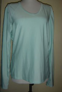 TEK GEAR ATHLETIC Top Long Sleeve Polyester Green Womens Large