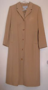 LL Bean Beige Tan Long Coat Wool Cashmere Blend Lined Over Top Dress Womens 8