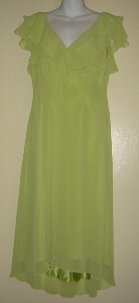 LIZ CLAIBORNE Formal Prom Bridesmaid Dress Sleeveless Lined Ruffle Green 12