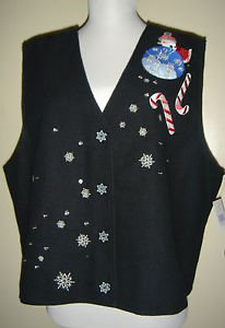 Karen Scott Christmas Holiday Vest Black Santa Snowflakes Lined Not So Ugly XL