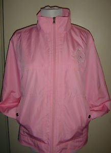 LAUREN RALPH LAUREN Full Zip Jacket Windbreaker PINK Embroidered Crest Womens L