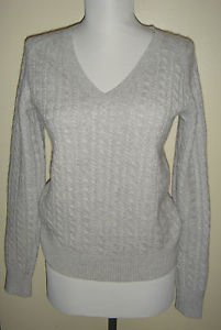 Ann Taylor 100% Cashmere Cable Knit V-Neck Sweater Thick Gray Womens XS