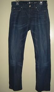 Mens 7 For All Mankind Jeans Standard Dark Wash Button Fly Whiskered 30 x 29