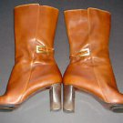 ANNE KLEIN AK Brown Leather Fashion Boots Mid-Calf Heel Buckle Zipper Womens 7M