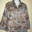 Jaipur METALLIC Semi-Sheer Blouse Striped Graffiti Words Brown Blue Womens XL