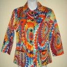 CHICOS Size 0 Blazer Jacket Lined Psychedelic Multicolor Artsy Art To Wear