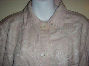 CHICOS Size 2 Crop Jacket Top Embroidered Beige Linen Blend Metallic Shimmer