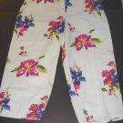 NEW Kate Hill Cotton Cropped Capri Pants Floral Watercolor Art to Wear Women 20W