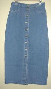EDDIE BAUER Long Jean Denim Skirt Modest Straight Pencil Maxi Womens 10