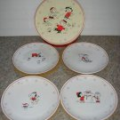 HALLMARK PEANUTS DESSERT PLATES (4) CHARLIE BROWN WOODSTOCK CHRISTMAS SNOWMAN