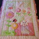 Avon Tiny Tillia Baby Crib Blanket Quilt Animals Flower Texture 30 x 40 RARE HTF