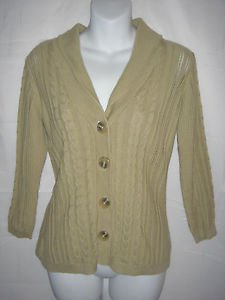 Eddie Bauer Cardigan Sweater Shawl Pointelle Cable Knit Beige 100% Cotton Small