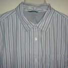BANANA REPUBLIC Shirt Button Front Long Sleeve Slim Fit Gray Striped Mens Large