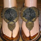 Carlos Santana Apache Wedge Sandals Platform Chestnut/Bronze Beaded Size 8 M