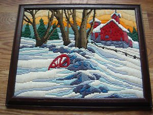 """Long Stitch Needlepoint Farm Snow Barn Winter Scene Completed Framed 12.5""""x15.5"""""""