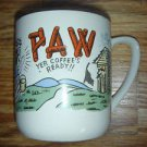 Vintage PAW Yer Coffee's Ready Mug Cup Hillbilly Humor Outhouse Blue Bird JAPAN