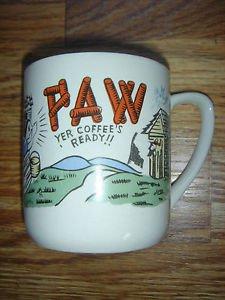 Vintage PAW Yer Coffee's Ready Mug Cup Hillbilly Humor Outhouse Blue Bird JAPAN