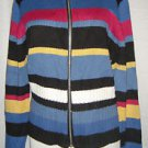 DRESS BARN Full Zip-Front Cardigan Sweater Striped Mock Turtleneck Womens Medium