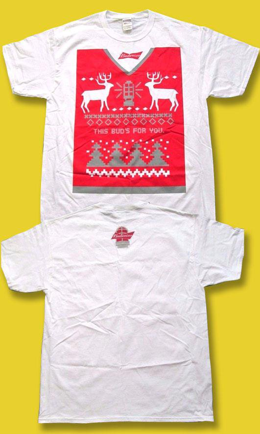 """BUDWEISER - """"THIS BUD'S FOR YOU"""" UGLY CHRISTMAS SWEATER, WHITE T-SHIRT *NEW* / L"""