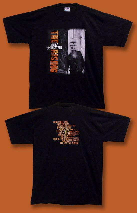 """BRUCE SPRINGSTEEN - 2002 """"THE RISING"""" SONGLIST CONCERT TOUR T-SHIRT / SIZE L"""