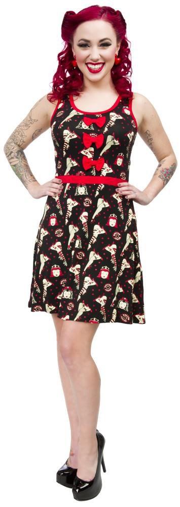 SOURPUSS - ROLLER DERBY DARLIN' DRESS,  ROLLER SKATES PRINT - RED *NEW* / SZ. XL