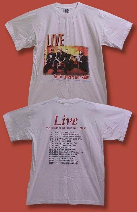 """LIVE - 2000 """"DISTANCE TO HERE"""" CONCERT TOUR T-SHIRT / SZ. L"""