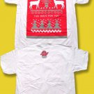 "BUDWEISER - ""THIS BUD'S FOR YOU"" UGLY CHRISTMAS SWEATER T-SHIRT *NEW* / WHITE"
