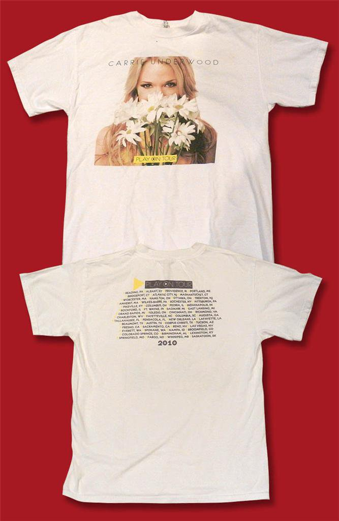 "CARRIE UNDERWOOD - 2010 ""PLAY ON TOUR"" DAISIES CONCERT TOUR  T-SHIRT / SZ. M"